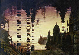 Jochen Bruenjes is an internationally known painter of surrealism and architecture. His inimitable style of fantastic realism is shown in his fantasy architecture which offers a glimpse into the ruins of a fallen civilisation with minute attention to detail.